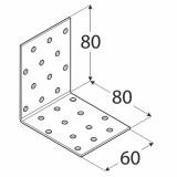 Stūra leņķis  80x80x60x2.0 mm