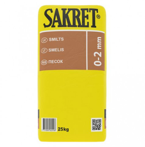 Sakret smilts  25kg  0-2mm  Smilts ar frakciju 0-2mm