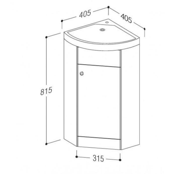 Corner bottom cabinet Piano VA40K-1