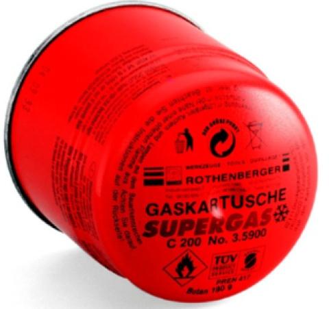 Gāzes balons SUPERGAS C200  (190ml), ar vārstu