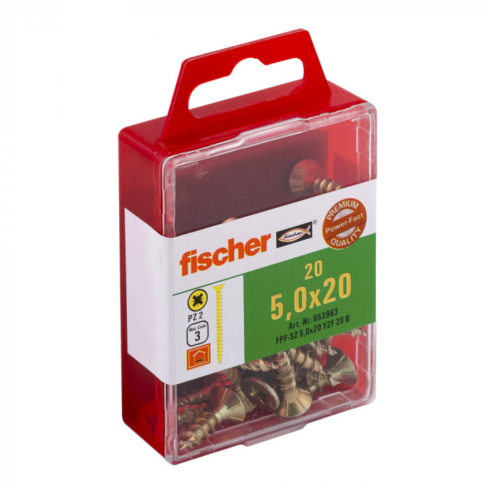FISCHER Шурупы по дереву FPF-SZ 5,0x20 YZ 20шт / упаковка 653963