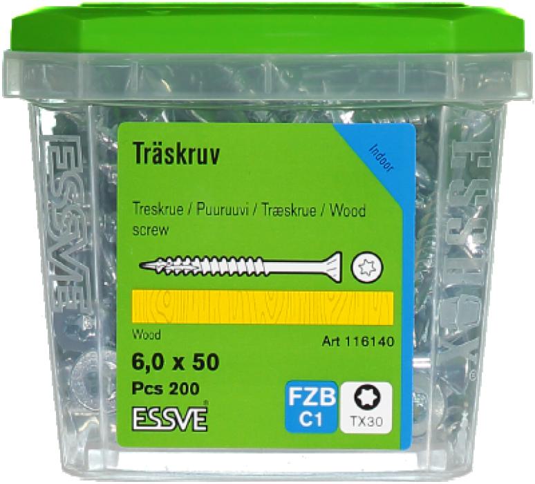 Skrūve kokam ESSDRIVE 6.0X50mm Zn 200gab/iep., ESSVE 136140