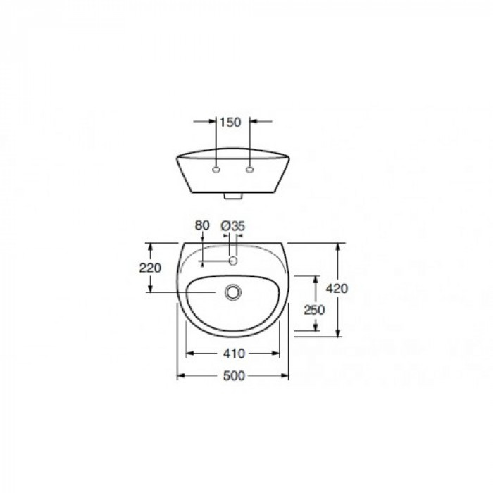410350 Estetic for bolt mounting, 500x420 mm. With C+