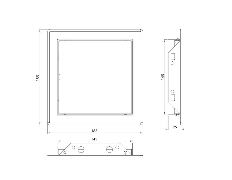 Reģipša revīzijas lūka iekšdar biem 150x150mm INOX,NOVIPRO