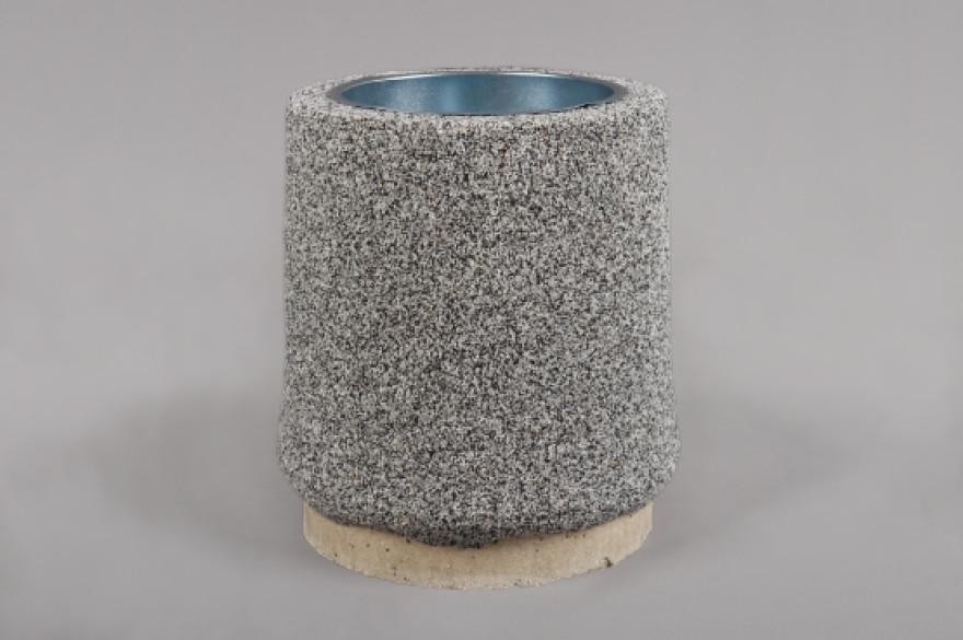 Dekoratīvā atkritumu urna 11 ar akmens smalci,pelēka