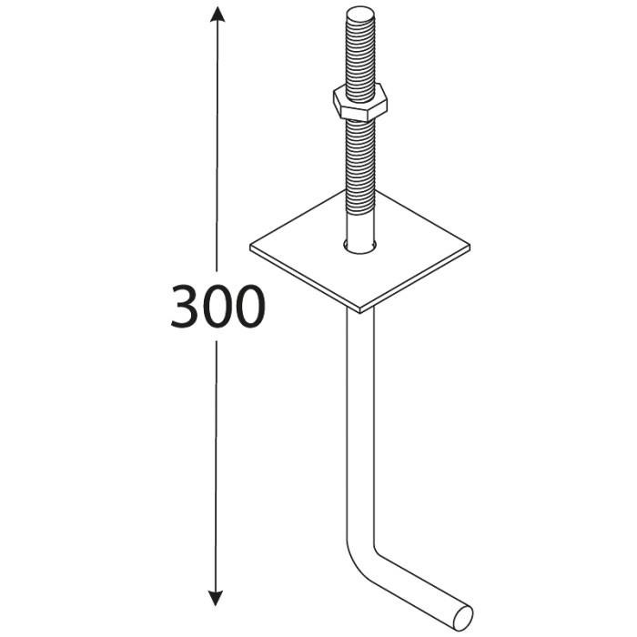 Mūrlatas enkurs 300x12mm, nekrāsots