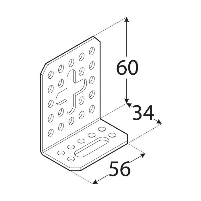 Leņķis 60x34x56x2.0mm, regulējams