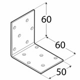 Stūra leņķis  60x60x50x2.0 mm