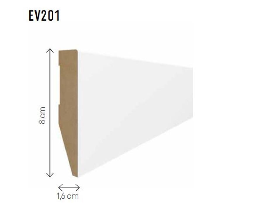 Skirting board MDF Evera 80 white EV201 80x16x2400mm