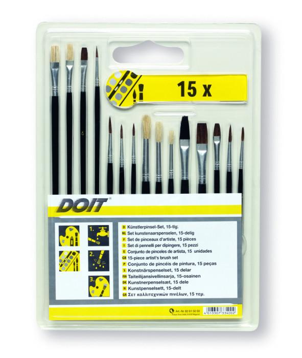 COLOR EXPERT 15pcs Brush-Set Artist, light and dark bristle