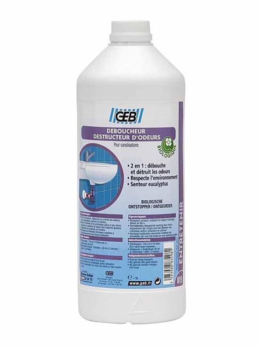 Kanalizācijas caur.tīrīšanas  līdzeklis Bioloģisks 1L GEB  6772028 GEB-DEBOUCHEUR