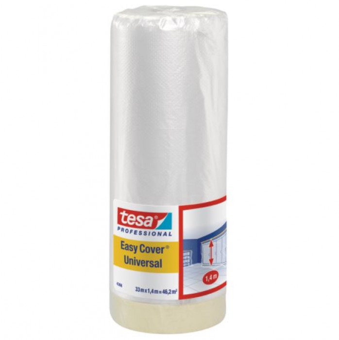 tesa 04368 EasyCover 33mx1.80m Masking film with slightly creped adhesive paper tape