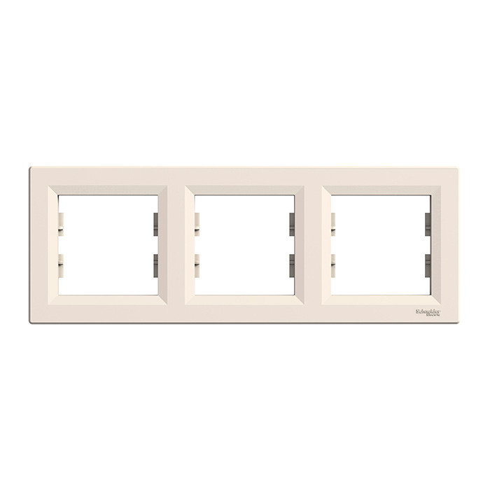 Asfora - horizontal 3-gang frame - cream