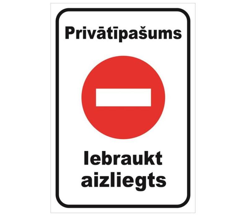 Sign ''Private property no trespassing'' 22x23cm