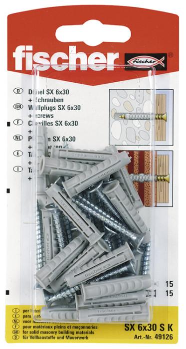 FISCHER SX 6X30 S dībelis 15gab. (61-893B)