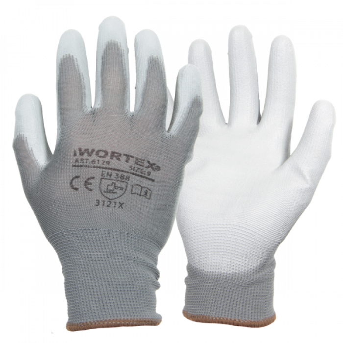 Wortex 100% knit polyamide gloves coated with grey polyurethane