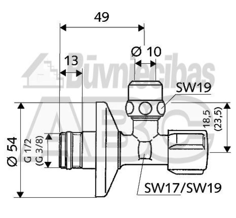 SCHELL Ventilis stūra  dekor.COMFORT 1/2 x3/8 (10mm)  049070699