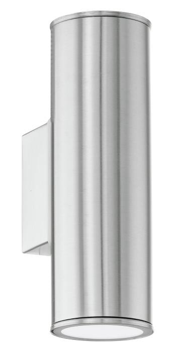 Уличный настенный светильник EGLO Riga 2XGU10 LED 2X3W 2X240lm IP44 нержавеющая сталь 94107