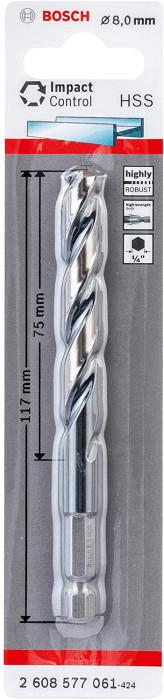 Bosch HSS Twist drill Impact Control with hexagonal shank, 8 x 75 x 117 mm 2608577061