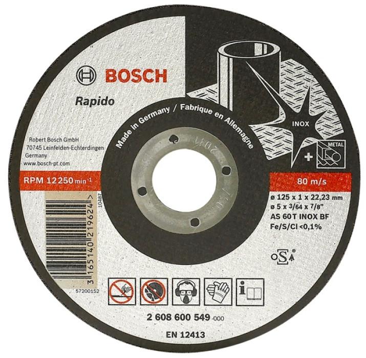Straight cutting disc Inox 180x2.0x22.2mm Bosch