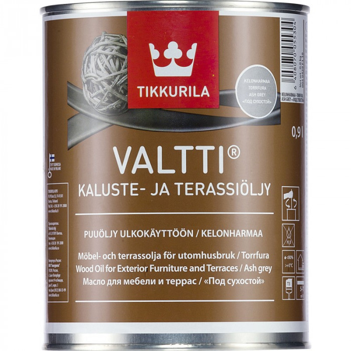 Tikkurila VALTTI KALUSTE 0.9L Furniture and Decking Oil, Grey