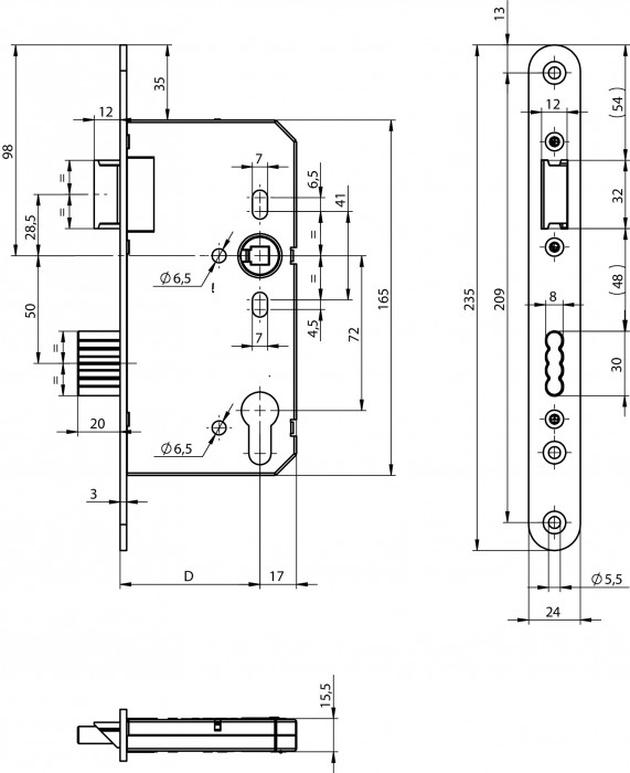 Slēdzene 65 DIN LAB/KR PZ 9/72-24