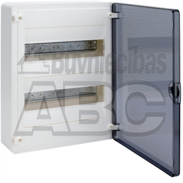 Modular box HAGER GOLF above the wall mounting transparent doors 2 lines each  by 12 modules size 377x282x99 мм