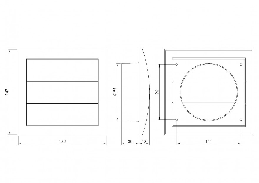 ventilationgrilleplastic,148x153mm,Ø100mm,withshutter