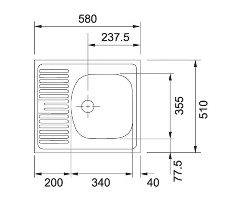 Met.izlietne ETL 611-58 58x51  cm auduma strukt.ar izplūdi  101.0009.363+112.0006.230