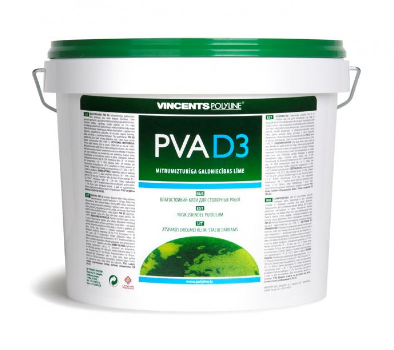 Vincents PVA D3 3kg Moisture resistant adhesive for internal work