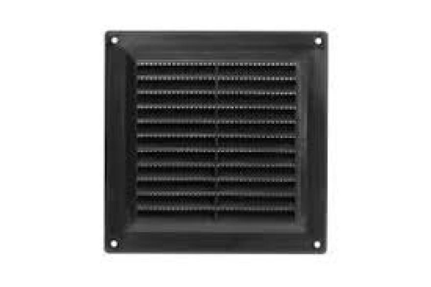 Ventilācijas reste plastmasas, 150x150mm, melna
