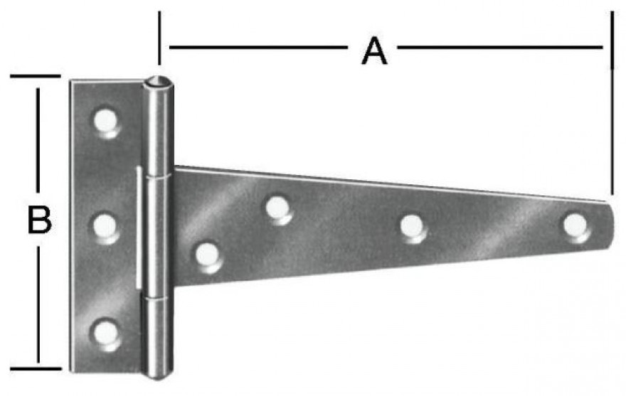 T-shaped hinges 245x100mm Steel/zn