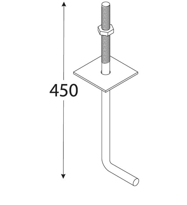 Mūrlatas enkurs 450x12mm, nekrāsots