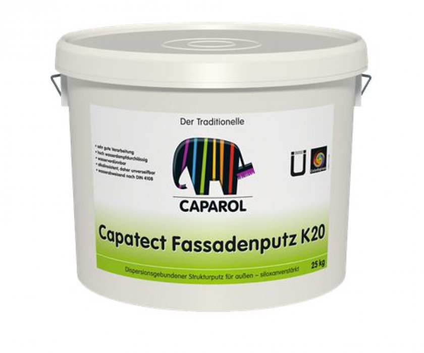 Synthetic, textured renders/plasters for exterior use, reinforced with siloxane Capatect-Fassadenputze K20,25 kg