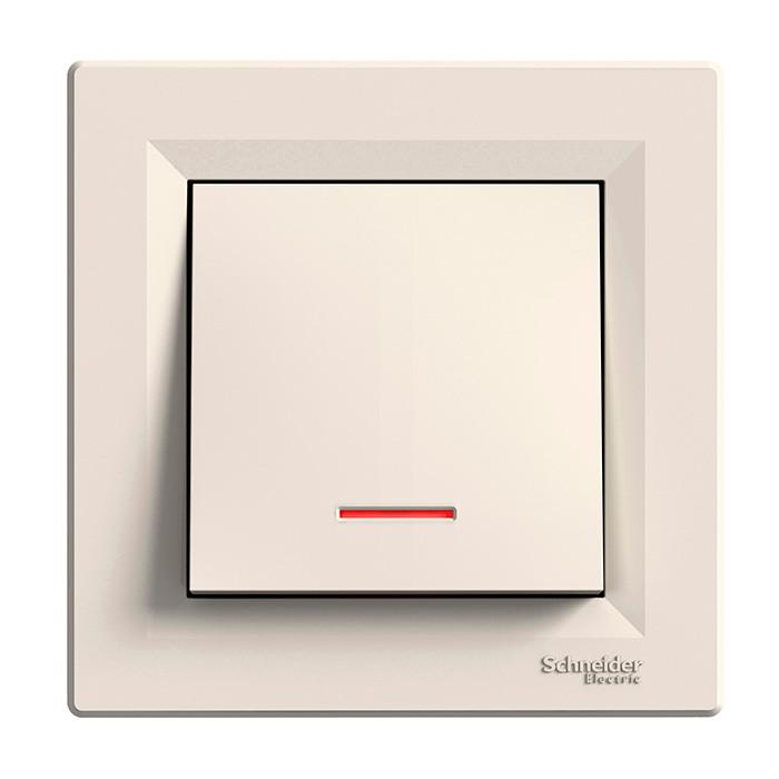 Asfora - 1pole switch -16AX lift terminals, locator light, cream