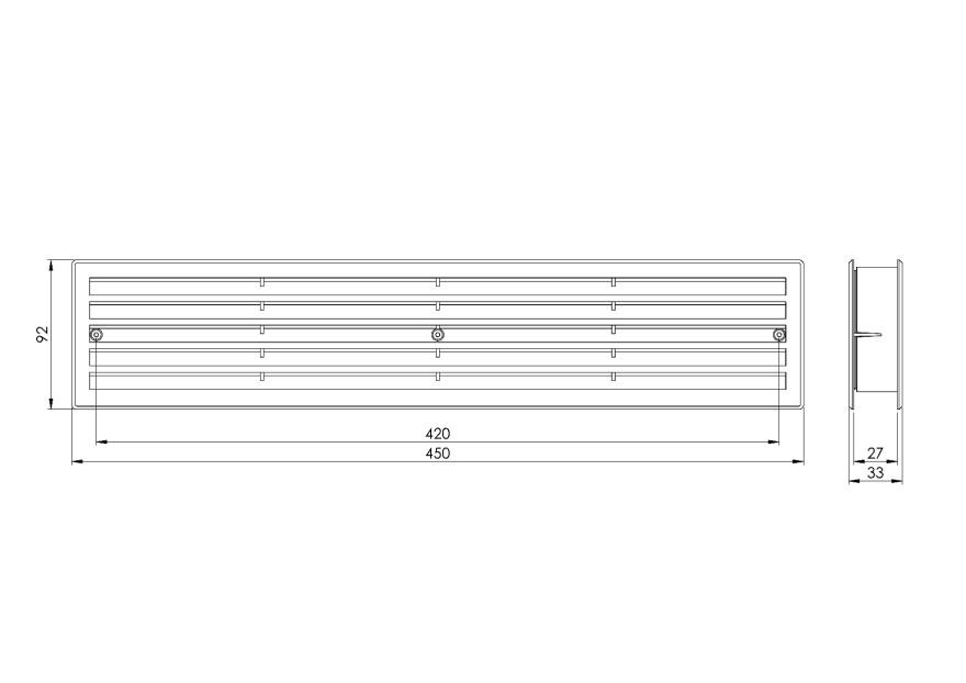 doorgrilleplastic,450x92mm