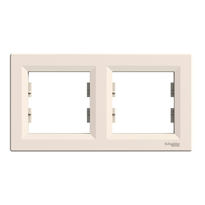 Asfora - horizontal 2-gang frame - cream