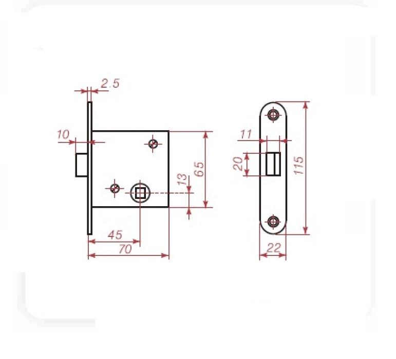 Slēdzene iekaļamā Kurzeme AC45 +brūni rokturi-uzlikas+WC poga