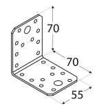Stūra leņķis  70x70x55x2.5 mm