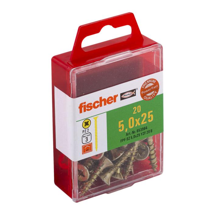FISCHER Шурупы по дереву FPF-SZ 5,0x25 YZ 20шт / упаковка 653964