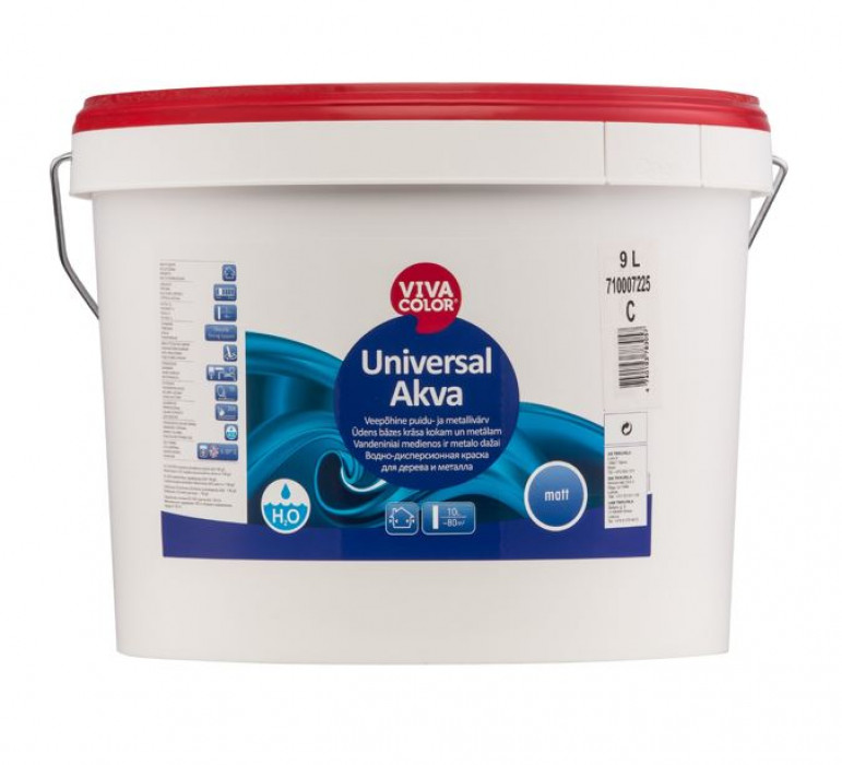 Vivacolor UNIVERSAL AKVA C 9L matt water-based paint