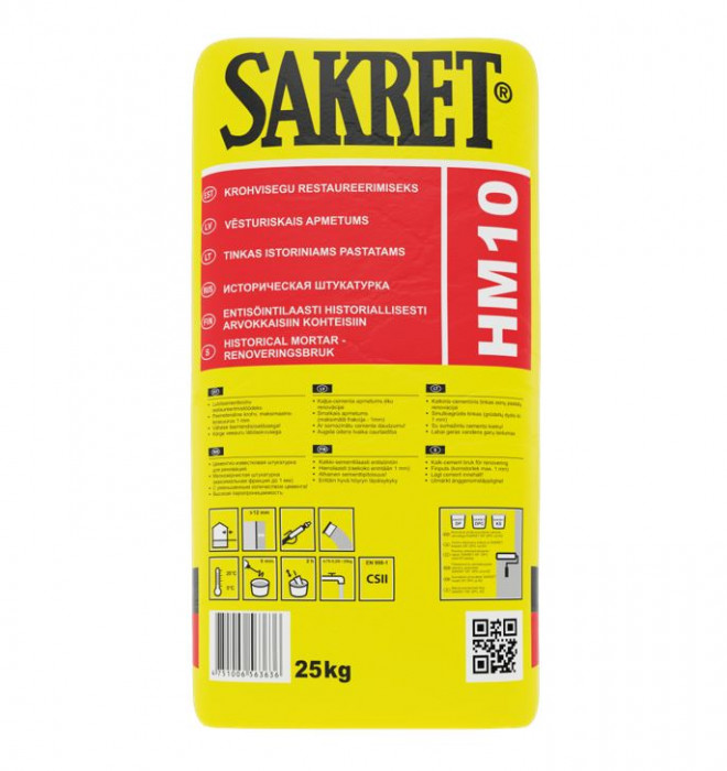 Sakret HM-10 25kg plaster for historic buildings