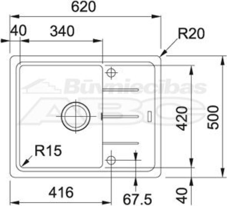 Granīta izlietne BFG 611-62 ON  62x50cm  114.0301.331