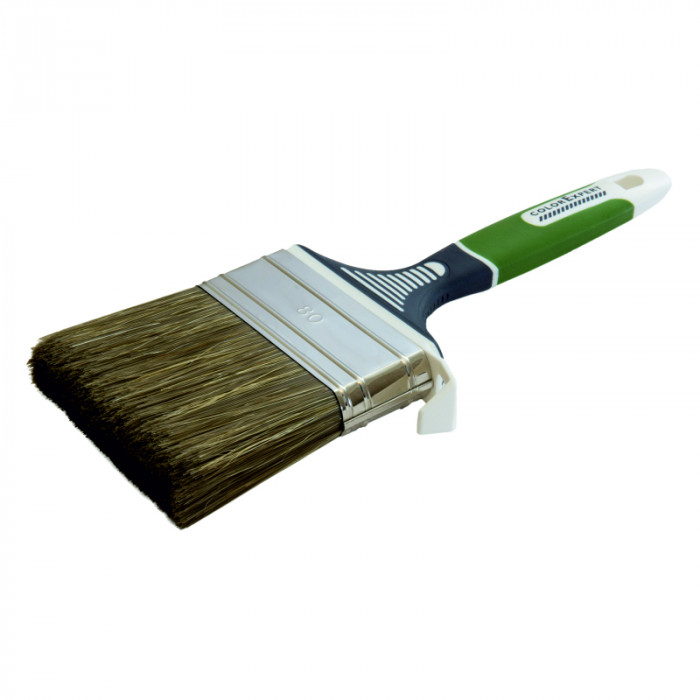COLOR EXPERT Flat brush 80mm, gr.9mm, PBT, grey-green/CN bristle,3K hand.