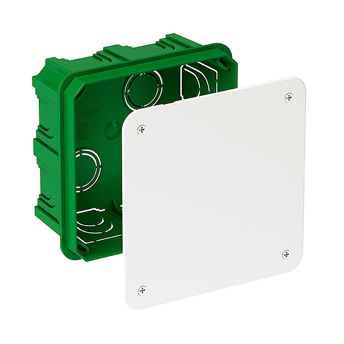 Junction Box / Apparatus Box 100x100x50mm green, with lid