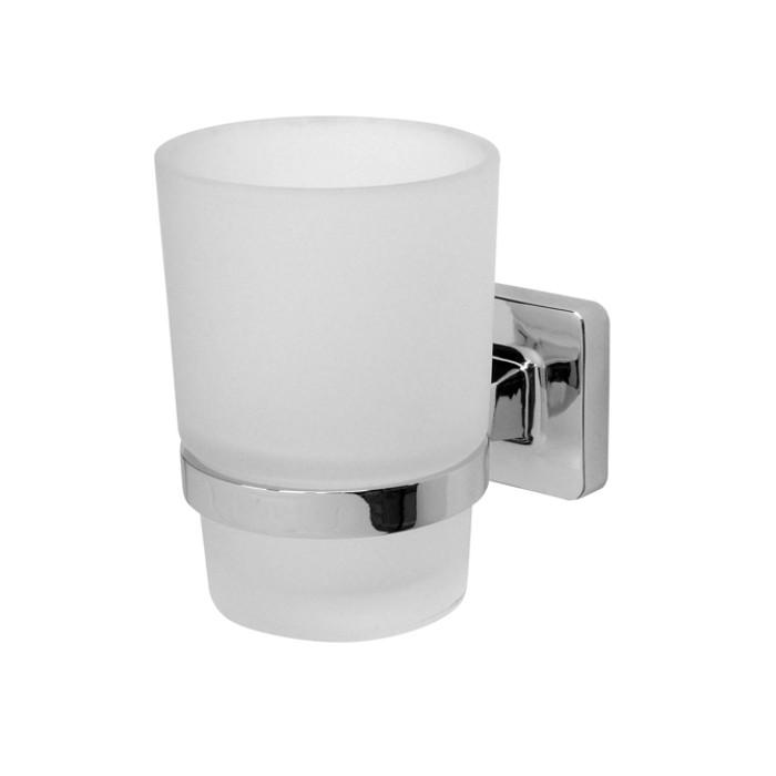 KALCYT glass tumbler with holder, chrom