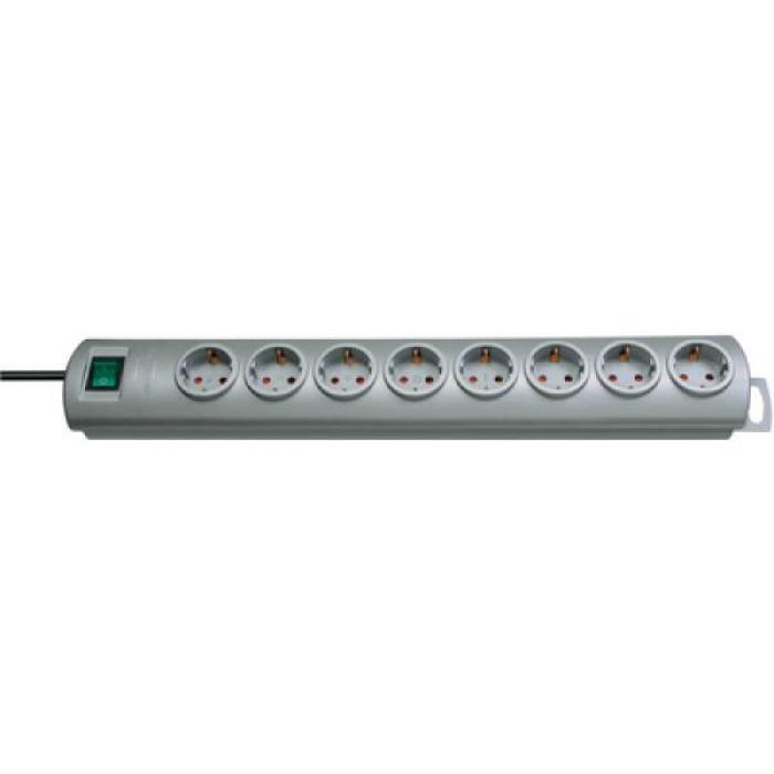 Primera-Line extension socket 8-way silver 2m H05VV-F 3G1,5