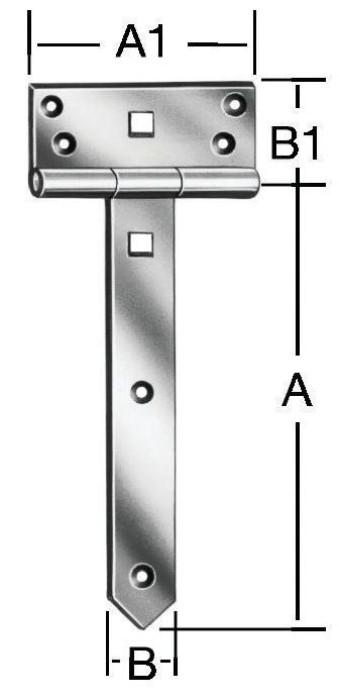 T-hinges 200x33mm Steel/ZN