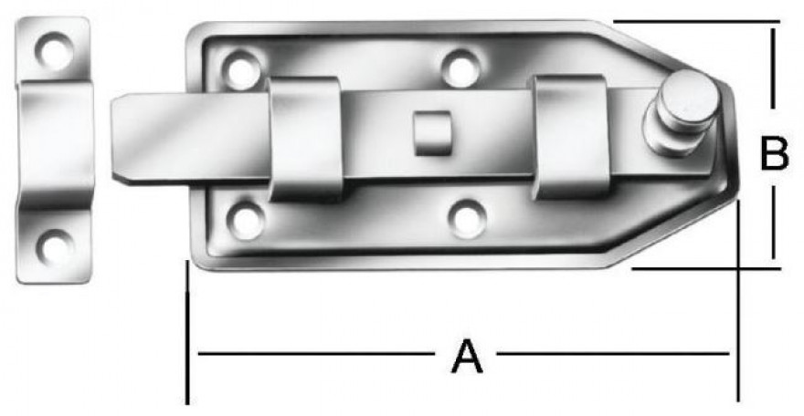 Door bolts with knob 100x45mm Steel/ZN