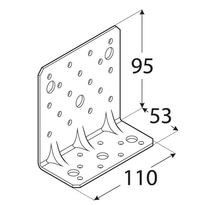 Leņķis 95x53x110x2.5mm, pastiprināts